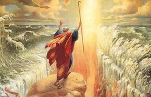 Moses with his staff as command by God